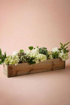 Wedding Flowers Wooden Box Planters - Equal parts modern and rustic, these simple wooden planters are lined with plastic to ensure that your greens and blooms stay happy. Flower Box Centerpiece, Wooden Box Centerpiece, Wooden Planter Boxes, Succulent Centerpieces, Succulent Terrarium, Succulents Diy, Terrariums, Wedding Table Decorations, Centerpiece Decorations