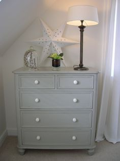 Old chest of drawers painted in #Farrow Ball Hardwick White