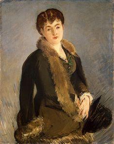 'Isabelle Lemonnier met hoed in de hand', ca. 1879-1880 / Édouard Manet (1832-1883) / Hermitage, St. Petersburg, Rusland.