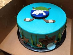 Wonderful birthday cake submitted to us by Jessica M. for her 9-year old! For all manatee and hockey lovers!