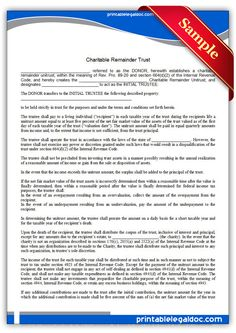 Free Printable Charitable Remainder Trust Legal Forms  Free Legal