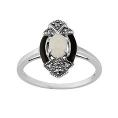 Gemondo Art Deco Style Ring, Sterling Silver 0.26ct Opal & 8pt Marcasite Ring