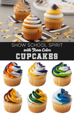 How to Make Team Color Cupcakes - Show your school spirit in the most delicious way possible – cheer the team on with team color cupcakes! We have just about every team color combination out there, and it's really easy to match your school colors.
