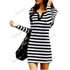Casual Striped Sheath V-neck Long Sleeve Wrap Dresses for Women (M-XXXL) DCD-359342