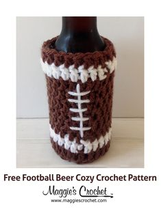 Father's Day Football Beer Cozy Free Crochet Pattern