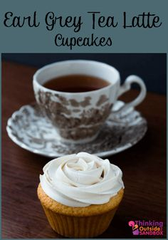 Homemade cupcake recipe with Earl Grey Tea Latte Cupcake flavoured icing. Homemade Cupcake Recipes, Tea Recipes, Sweet Recipes, Dessert Recipes, Homemade Recipe, Muffin Recipes, Easy Desserts, Delicious Desserts, Desert Recipes