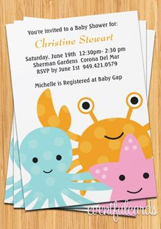 Ocean Sea Animals Baby Shower Invitation Fully Customizable. $15.99, via Etsy.