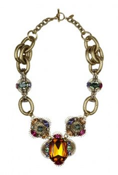 Art Deco Flower Crystal Encrusted Necklace by Anton Heunis