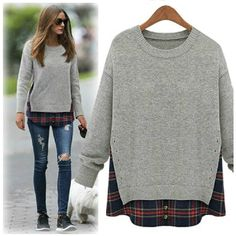 olivia palermo x goodnight macaroon heather grey plaid mock layer sweater #celebstyle