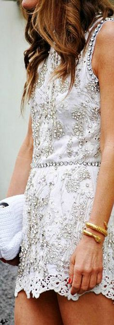 street style, dress, ivory, white, cocktail dress, sparkle, style, stylish, fashion, fashionable, classic,