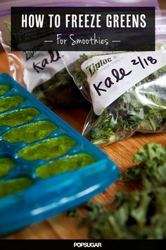 How to Freeze Greens for smoothies. Nutrition goal this week, try a green smoothie! Here are some tips about how to freeze greens. It's genius. Post your smoothie concoction below so everyone can try it! How To Make Smoothies, Healthy Smoothies, Healthy Drinks, Healthy Snacks, Making Smoothies, Oatmeal Smoothies, Healthy Choices, Healthy Life, Healthy Living