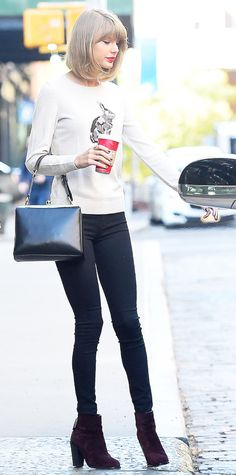 Taylor Swift- Rabbit- Covered Talbots Sweater, Black Skinny Jeans, Burgundy Rag & Bone booties, Dolce & Gabbana Top Handle Bag