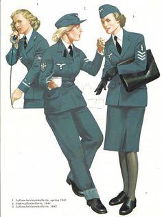 LUFTWAFFE - Luftnachrichtenhelferin 1941 (1), Flakwaffenhelferin 1944 (2) y Luftnachrichtenhelferin 1942 (3)