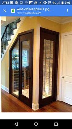 Under Stairs Wine Storage with Windows