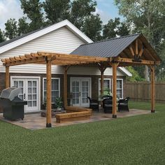 OZCO Covered Patio & Pergola Project Pergola Design Ideas that are quite interesting and suitable for outdoor areas in your home. Backyard patio ideas √ Pergola Design Ideas, Best Wood Structure Installation Ideas - Best Home Ideal Diy Pergola, Pergola With Roof, Backyard Pergola, Backyard Landscaping, Attached Pergola, Cheap Pergola, Patio Roof, Cement Patio, Flagstone Patio