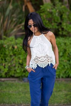 Urban Outfitters White Embroidered Halter Tank Top