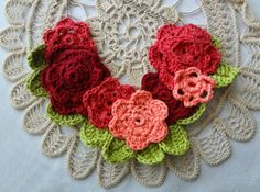 #Crochet flower necklace pattern for sale from The Little Treasures; she always has the best jewelry designs!