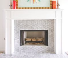 "3"" carrara marble hexagon tile for the fireplace, would keep our existing slate floor"