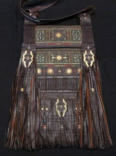 Africa | Berber bag ~ Zaaboula ~ Rif Mountain region, in northern Morocco | Leather