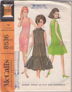 McCall's 8536 Vintage 60's Sewing Pattern DELIGHTFUL Sexy Scoop Neck Bombshell Vixen Sheath Slip, Party Dress, Flared Drop Waist Circle Skirt Sheer Overdress #MOMSPatterns