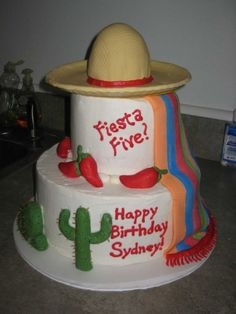 The sombrero needs a little fancy...I don't think I've made a tiered cake