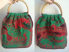 1960s/70s Novelty Knitted Holiday Tote Bag by HappyRedUK on Etsy