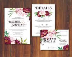 Beautiful floral peony in blush, wine, and foliage colors wedding/party invitation set. The RSVP is designed as a postcard, so just place a stamp on it and place in the mail- no need for an additional envelope! Customizable details card is room for additional information you need to communicate to your guests. Some examples include: registry, website, reception, dress code, etc. Plus, FREE folded thank you card included!  This listing is for me to update the invites and send you final pr...
