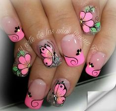 Gorgeous Acrylic Nails With Sweet Flowers  & Butterflies  in Bright Pink!
