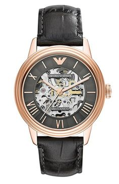 Emporio Armani Skeleton Dial Leather Strap Watch #Watch #Leather