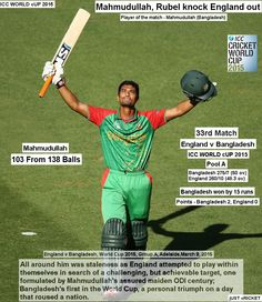 ICC WORLD cUP 2015:  England v Bangladesh, World Cup 2015, Group A, Adelaide, March 9, 2015  Mahmudullah, Rubel knock England out  All around him was staleness as England attempted to play within themselves in search of a challenging, but achievable target, one formulated by Mahmudullah's assured maiden ODI century; Bangladesh's first in the World Cup, a personal triumph on a day that roused a nation.