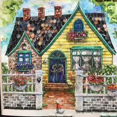 Romantic Country third tale love colouring charming cottage #watercolour #romanticcountrycoloringbook #adultcoloringbook #eiry #cottagecharm