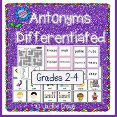 This product has antonym cards, practice pages, sentence writing, teaching poster, and ideas for use. The material is also useful for literacy centers, assessment, tutoring and homework.Included: -30 intermediate antonym cards to make 15 pairs without pictures -24 picture cards with words to make 12 pairs of antonyms for your lower readers; use in small groups settings-Recording sheet for write-the-room matching games, scavenger hunts, or Go Fish -An antonym anchor chart that is a…