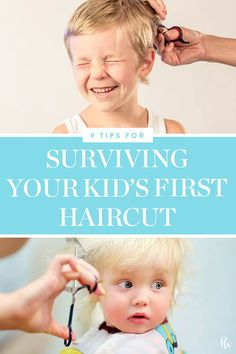 9 Tips for Surviving Your Kids First Haircut Boys Summer Outfits, Baby Boy Outfits, Kids Outfits, Toddler Haircuts, Baby Boy Haircuts, Baby Boy First Haircut, Children Hair, Children Clothing, Children Books