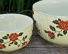 Vintage Lot Hall Mixing Bowls x2 • Red Poppy Radiance Ceramic Nesting Batter…