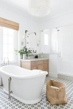 Calabasas Remodel: Master Suite Reveal Master Bath with soaking tub and black and white tile floor and walk in shower Home Interior, Bathroom Interior, Interior Design, Bathroom Furniture, Bad Inspiration, Bathroom Inspiration, Bathroom Ideas, Unit Bathroom, Shower Bathroom