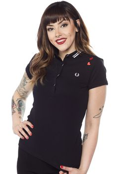 FRED PERRY GIRLS AMY WINEHOUSE SHIRT BLACK $82.00 #fredperry #amywinehouse #polo