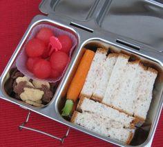 "Dairy Free Tuna Salad ""Sandwich Sticks"" made on Gluten, Nut, Soy,  Dairy Free Bread, Organic Carrot, Watermelon Balls,  Annie's Gluten Free Bunny Cookies."