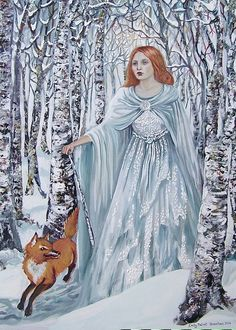 Birch Witch  Pagan Winter Goddess Art 8x10 Print by EmilyBalivet, $15.00