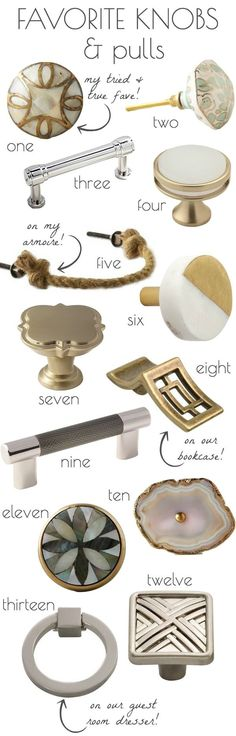 Kitchen and bathroom cabinet knobs and pulls that are stunners! Kitchen and bathroom cabinet knobs a Kitchen Cabinets Handles And Knobs, Kitchen Cabinets In Bathroom, Kitchen Hardware, Drawer Handles, Kitchen Tips, Kitchen Ideas, Cabinet Hardware, Drawer Pulls, Hardware Pulls