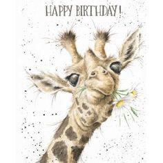 Birthday Flowers - Giraffe birthday card by Hannah Dale for Wrendale Designs Happy Birthday Giraffe, Happy Birthday Flower, Happy Birthday Greeting Card, Happy Birthday Images, Birthday Wishes, Card Birthday, Birthday Sayings, Birthday Ideas, Animal Paintings