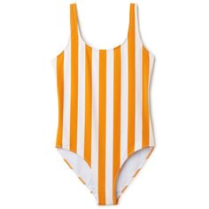 Day Striped Swimsuit... ($37) ❤ liked on Polyvore featuring swimwear, one-piece swimsuits, sporty one piece swimsuits, striped swimsuit, yellow swimwear, open back swimsuit and swim suits