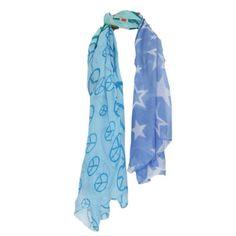 19,90EUR Schal mit Peace Zeichen und Sternen blau
