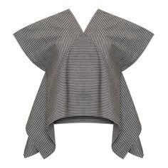 With its flared cap sleeves and modern cut, the Eris top creates a stunning silhouette. It is full of bold lines and sharp angles, beautifully stitched to make the most of the fabric's gorgeous stripe. The shape of the sleeves is matched by a narrow V-neck and intricate stitching through the breast, which creates a striking perpendicular design from the grey and white stripes of the cotton. These lines are softened by a wider cut at the hemline, creating a lovely drape around the hips. This… Mode Kimono, Batik Fashion, Fashion Details, Fashion Design, Mode Style, Diy Clothes, Shirt Blouses, Shirts, Blouse Designs