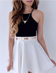 I love this look. Black crop top/tank, a white skater skirt, accessorized perfec… I love this look. Black crop top/tank, a white skater skirt, accessorized perfectly with a simple gold necklace and a matching belt. Mode Outfits, Dress Outfits, Casual Outfits, Dress Up, Fashion Outfits, Swag Dress, School Outfits, Dress Fashion, Fashion Clothes