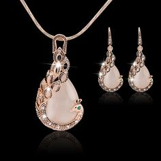 2015 New Fashion KC Yellow Gold Filled opal Crystal Peacock Necklace Earring Wedding Fine Jewelry Set for women