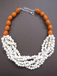 Orange Tagua Nut & White Acai Beads Multistrand by LeVoyageDeHuit, $99.00