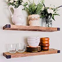 Check this out at Amazon Rustic Wood Walls, Rustic Room, Reclaimed Barn Wood, Rustic Wood Shelving, Rustic Ladder, Floating Bookshelves, Rustic Floating Shelves, Wall Mounted Wood Shelves, Hanging Shelves