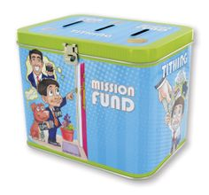 LDS Tin Tithing Bank for boys. Has 3 separate boxes: mission fund, tithing, and fun. Great gift for baptism.