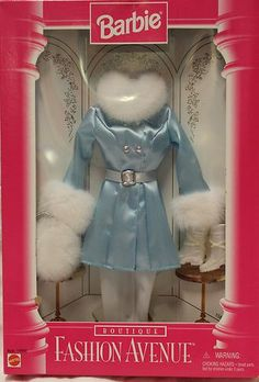 Barbie Fashion Avenue Ski Blue Satin White Fur Coat Dress Snow Boots New | eBay