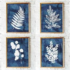 Blue ink fern printables | Set of four | botanical wall art
